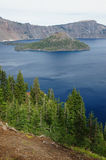 Wizard Island at crater lake Royalty Free Stock Images