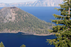 Wizard Island in Crater Lake Stock Photos