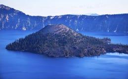 Wizard Island Crater Lake Blue Sky Oregon Stock Photography