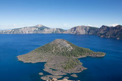 Wizard Island in Crater Lake Stock Image