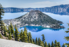 Wizard Island of Crater Lake National Park, Oregon Royalty Free Stock Images