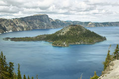 Wizard Island on Crater Lake Stock Images