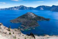 Wizard Island, Crater Lake, Oregon Stock Photo