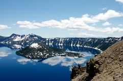 Wizard Island of Crater Lake during the summer Stock Photos