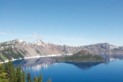 Wizard Island of Crater Lake during the summer Stock Images