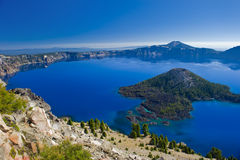 Wizard Island at Crater Lake Volcano in Oregon. On a clear summer day stock images