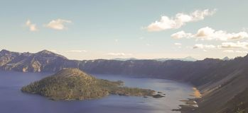 Wizard island and crater lake royalty free stock photos