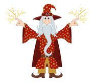 Wizard launches lightning. Wizard in red starred costume standing with hands up and launches lightning, cartoon character stock illustration