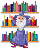 A wizard in the library. Illustration of a wizard in the library on a white background Royalty Free Stock Photos