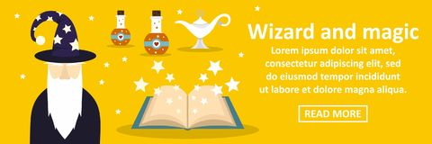 Wizard and magic banner horizontal concept. Flat illustration of wizard and magic banner horizontal vector concept for web Stock Photo