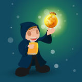 Wizard Magic Money Rich Dollar. Vector Royalty Free Stock Image