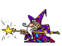Wizard magic staff cartoon illustration Stock Images