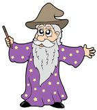 Wizard with magic wand. Illustration Stock Photos