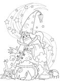 Wizard making a potion royalty free illustration