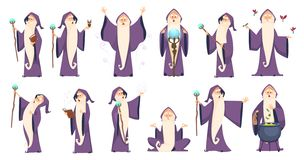 Free Wizard. Mysterious Male Magician In Robe Spelling Oldster Merlin Vector Cartoon Characters Royalty Free Stock Images - 155731499