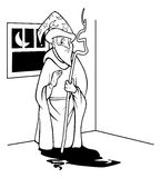 Wizard outline. Cartoon outline illustration of a Wizard outline Stock Photo