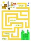 Wizard of OZ labyrinth help Dorothy to find the way. Wizard of OZ maze, help Dorothy to find the Emerald Castle, vector illustration game Royalty Free Stock Images