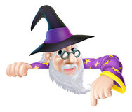 Wizard peeking over sign Stock Photography