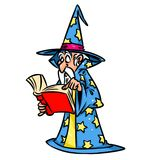 Wizard reading  book folio cartoon illustration Stock Photo