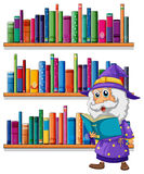A wizard reading a book in front of the bookshelves Stock Photo