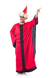 Wizard in red costume Stock Images