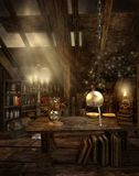 Wizard's attic 1. Fantasy attic room with magic objects Stock Photos