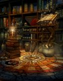 Wizard's house 2. Fantasy room with a magic book, potions, and candles Stock Photo