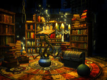 Wizard's study. Fantasy illustration of an alchimist's study Royalty Free Stock Images