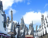 Wizard's World. Image of interesting rooftops and signs in the Wizarding World of Harry Patter at Universal Studios, Orlando Royalty Free Stock Photography