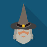 Wizard Sage with Pointy Hat, Vector Illustration Stock Photography