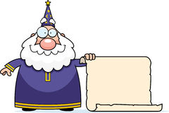 Wizard Scroll. A cartoon wizard holding a large scroll Royalty Free Stock Images