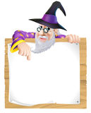 Wizard sign. Illustration, a cartoon wizard character pointing at a sign with copy-space Stock Photo