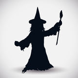 Wizard Silhouette, Vector Illustration Royalty Free Stock Photo