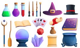Wizard tools icons set, cartoon style royalty free illustration