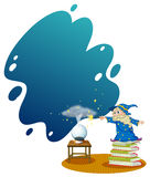 A wizard at the top of the piled books. Illustration of a wizard at the top of the piled books on a white background Royalty Free Stock Photo