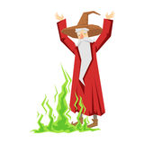 Wizard waving with both hands. Colorful fairy tale character Illustration Royalty Free Stock Images