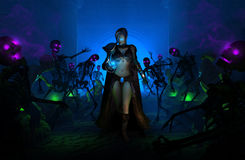 Wizard Woman. High resolution Highly detailed 3d illustration of a wizard female walking amongst undead skeletons and zombies Stock Photography