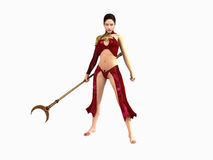 Wizard woman. 3d illustration of a wizard woman isolated on white Royalty Free Stock Photos