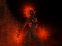 Wizard woman castin fire spells. 3d render of female wizard casting fire spells Stock Photo