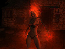 Wizard woman castin fire spells. 3d render of female wizard casting fire spells Royalty Free Stock Image