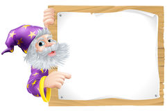 Wizard and wooden sign stock illustration