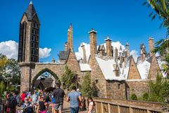 The Wizarding World of Harry Potter. Orlando, Florida: November 30, 2017: The Wizarding World of Harry Potter - Hogsmeade at Universal`s Islands of Adventure Royalty Free Stock Photography
