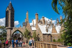 The Wizarding World of Harry Potter. Orlando, Florida: November 30, 2017: The Wizarding World of Harry Potter - Hogsmeade at Universal`s Islands of Adventure Stock Photo