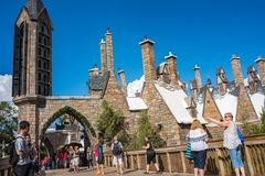 The Wizarding World of Harry Potter. Orlando, Florida: November 30, 2017: The Wizarding World of Harry Potter - Hogsmeade at Universal`s Islands of Adventure Stock Photos