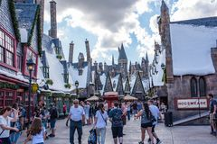 The Wizarding World of Harry Potter. Orlando, Florida: November 30, 2017: The Wizarding World of Harry Potter - Hogsmeade at Universal`s Islands of Adventure Stock Images