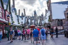 The Wizarding World of Harry Potter. Orlando, Florida: November 30, 2017: The Wizarding World of Harry Potter - Hogsmeade at Universal`s Islands of Adventure Royalty Free Stock Photos