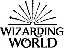 Wizarding world new logo. The Wizarding World is a fantasy media franchise and shared fictional universe centred on a series of films, based on the Harry Potter royalty free illustration