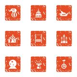 Wizardry icons set, grunge style. Wizardry icons set. Grunge set of 9 wizardry vector icons for web isolated on white background vector illustration