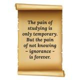 Wize qoute De pijn van het bestuderen is slechts tijdelijk Maar de pa vector illustratie