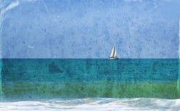 Wizerunek żaglówka przy horyzontem na morzu z tekstury narzutą, rocznika filtr Obrazy Royalty Free